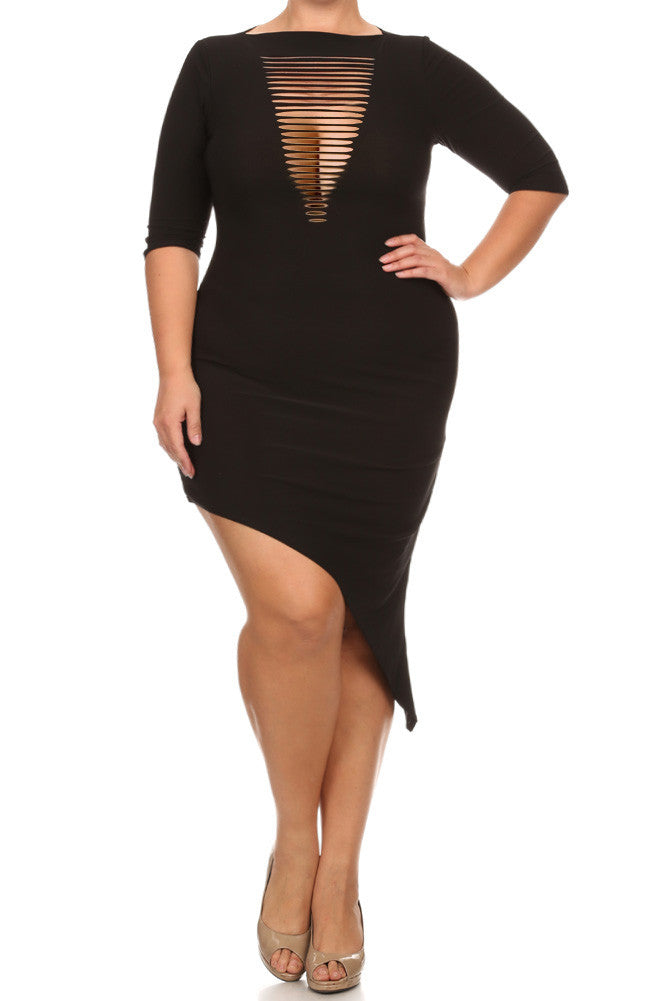 Plus Size Cut Out Front Asymmetrical Dress