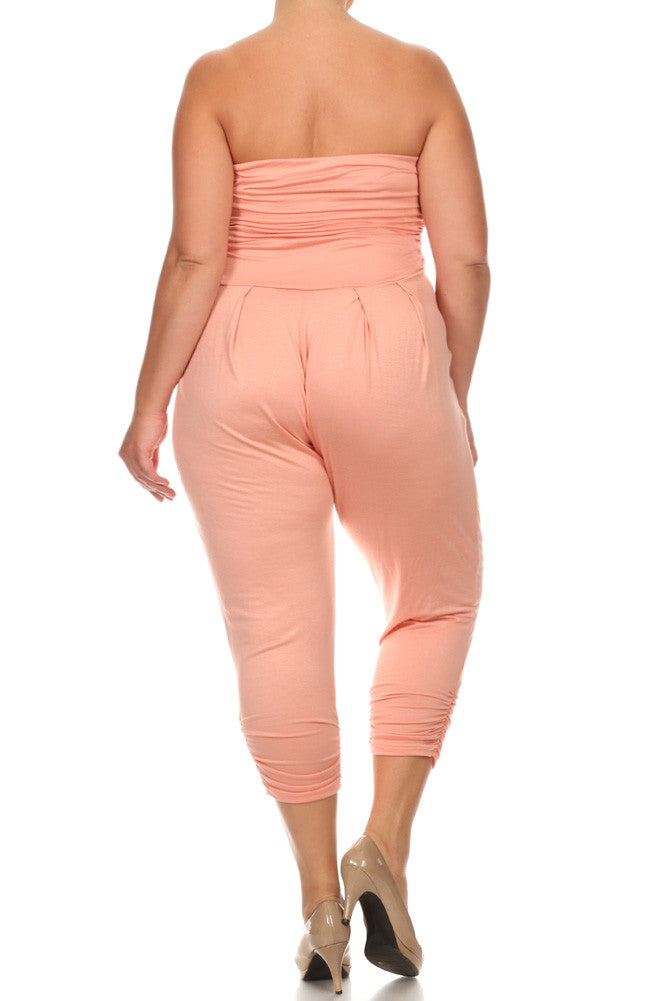 Plus Size Sexy Strapless Jumpsuit