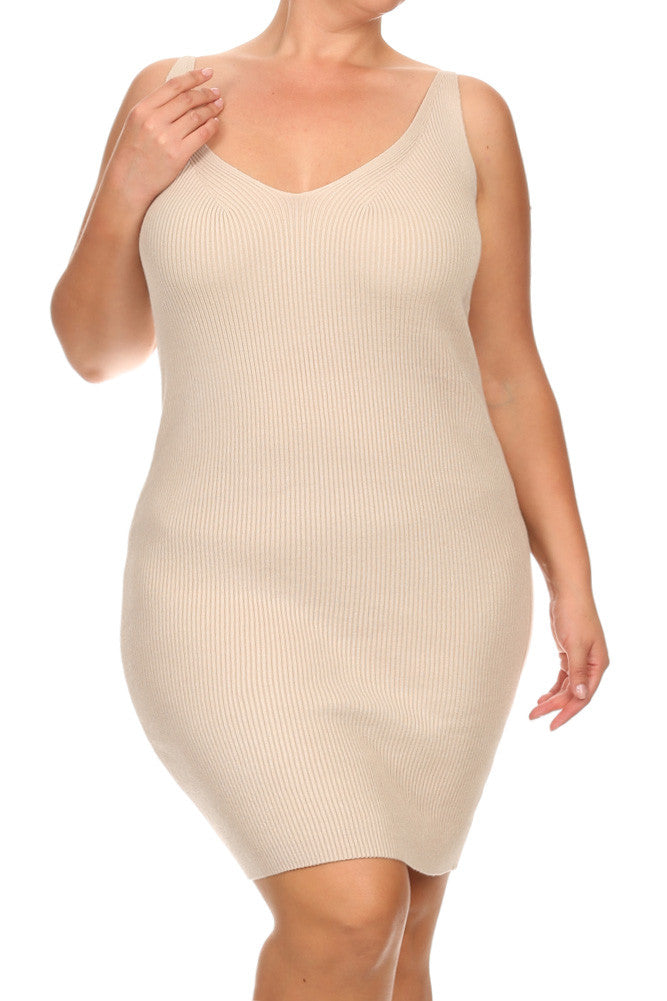 Plus Size Ribbed Knit Soft Hot Body-con Dress
