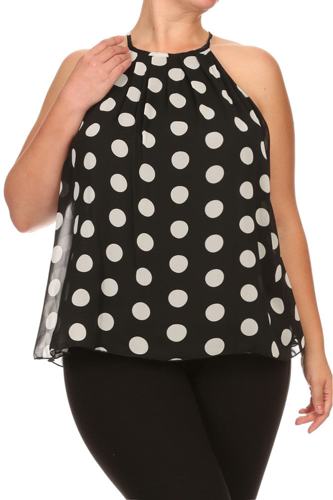 Plus Size Chic Polka Dot Sheer Flowy Top