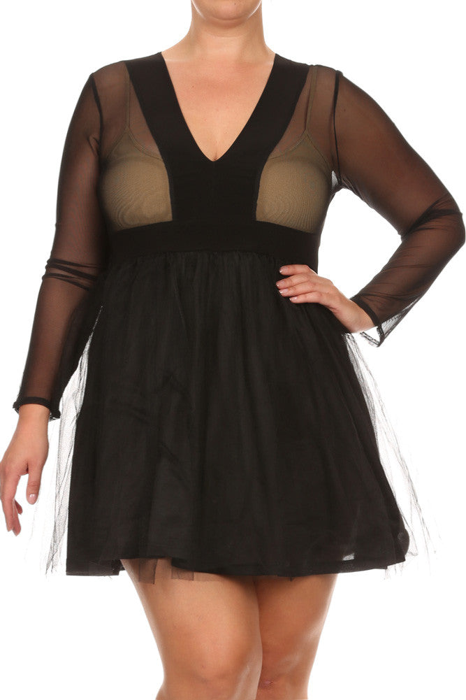 Plus Size Heavenly See Through Mesh Tulle Dress