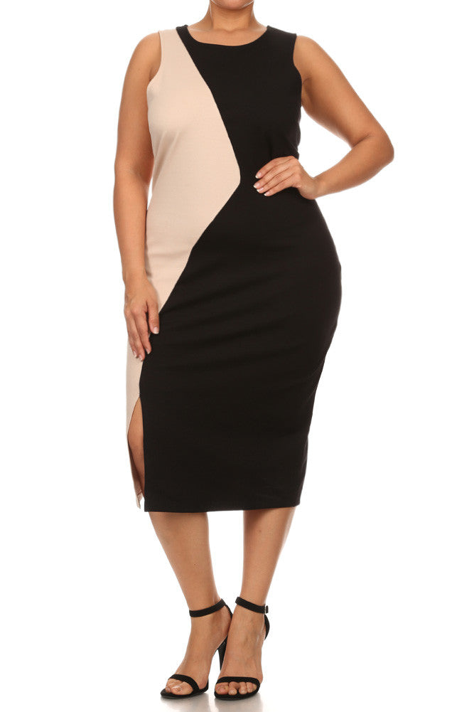 Plus Size Abstract Color Block Dress
