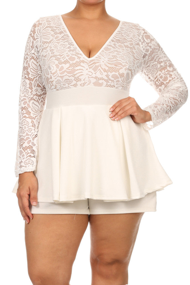Plus Size Adorable Floral Lace Romper Dress