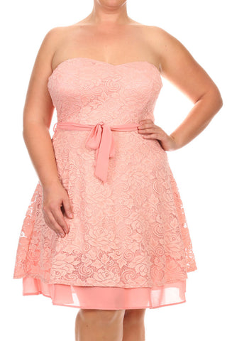 Plus Size Sweetheart Lace Bow Ribbon Dress
