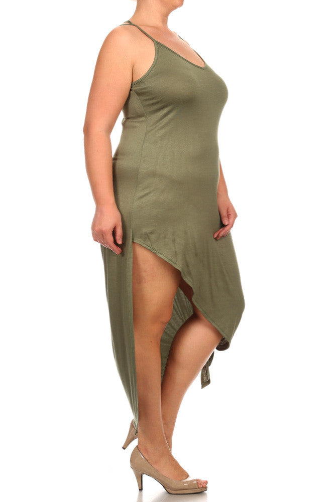 Plus Size Spring Breeze Asymmetrical Jersey Dress