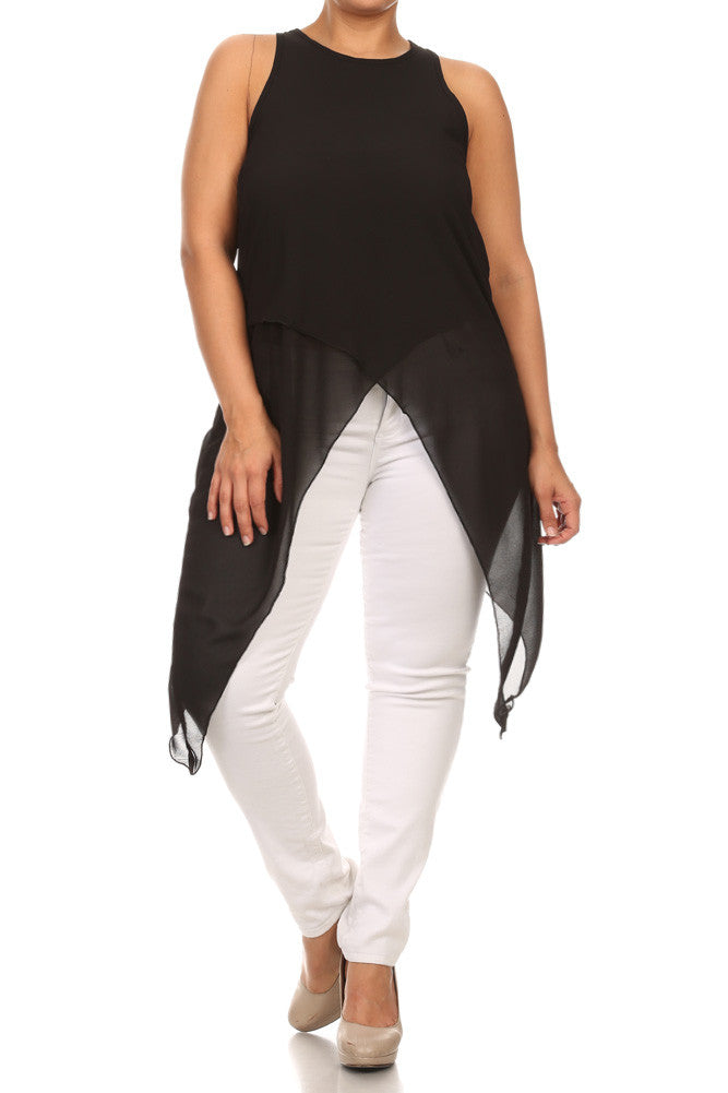 Plus Size Sleek Sheer Layered Hanky Hem Top