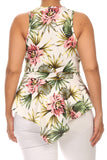 Plus Size Gorgeous Tropical Flower V Hem Top