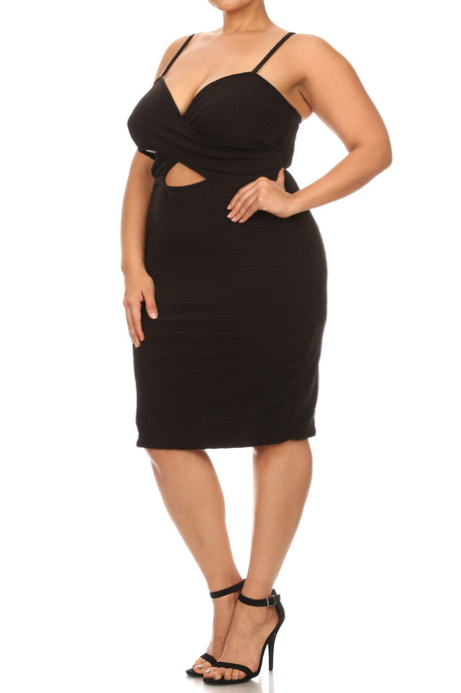 Plus Size Seductive Ribbed Crossed Neckline Dress