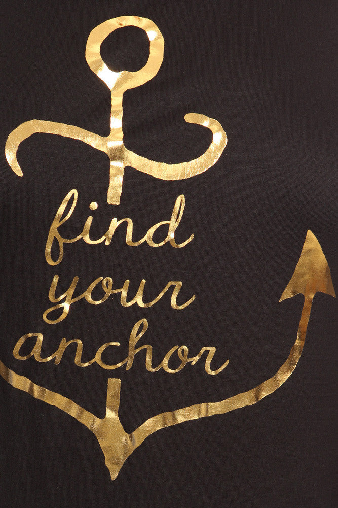 Plus Size Lace Up Back Gold Anchor Top