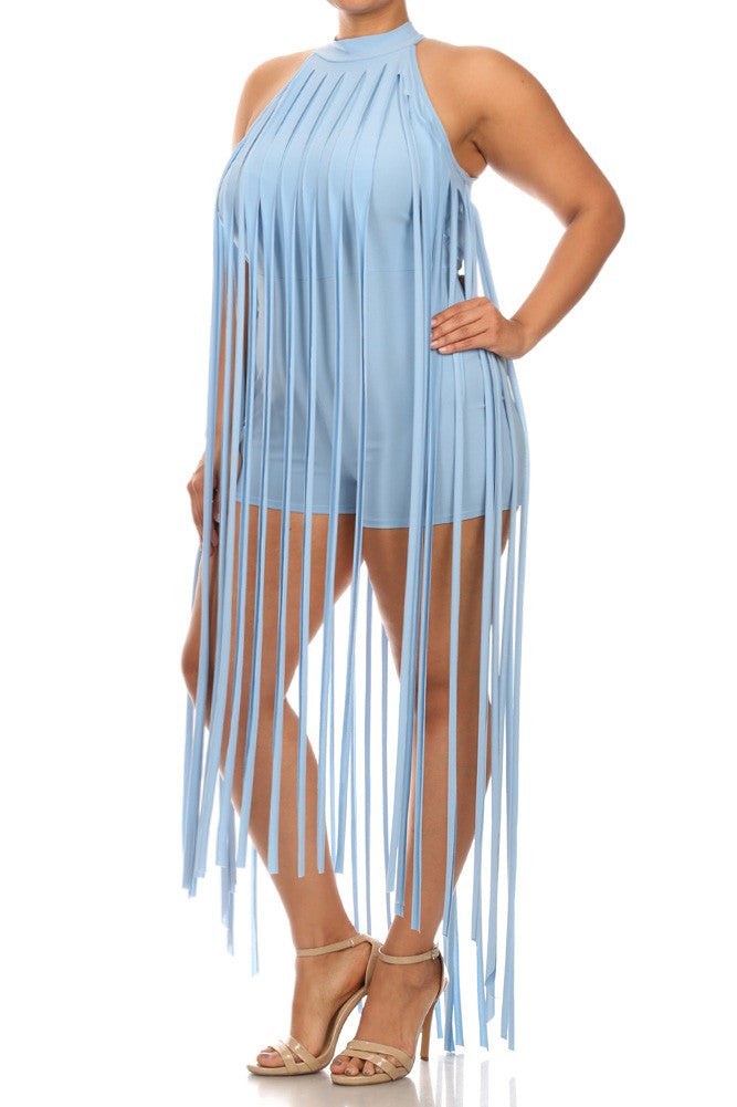 Plus Size Sexy Summer Long Fringe Romper