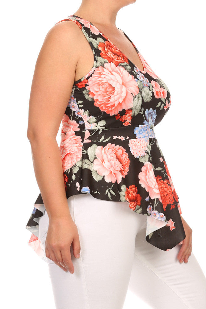 Plus Size Gorgeous Floral V Hem Top