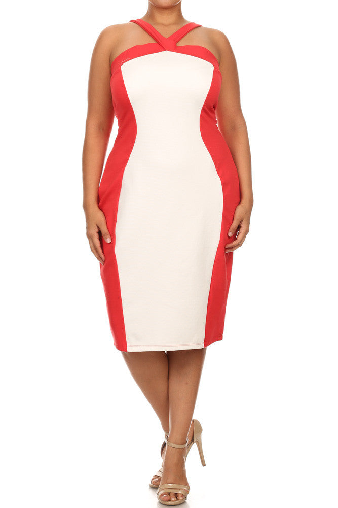 Plus Size Haute Color Block V Strap Dress