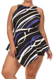 Dashing Geo Print V Hem Plus Size Romper