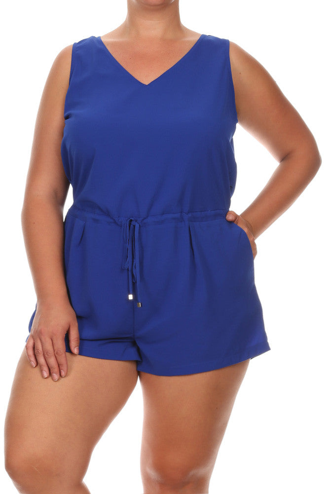 Pier Days Drawcord Sexy Plus Size Romper
