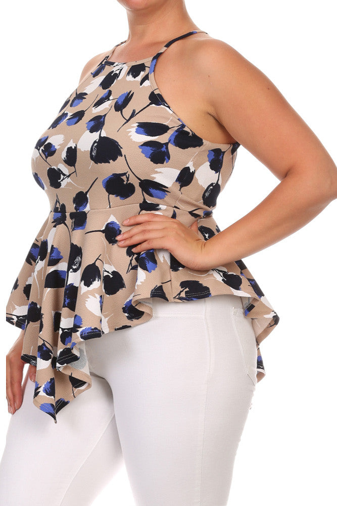 Floral Beauty Peplum Plus Size Top