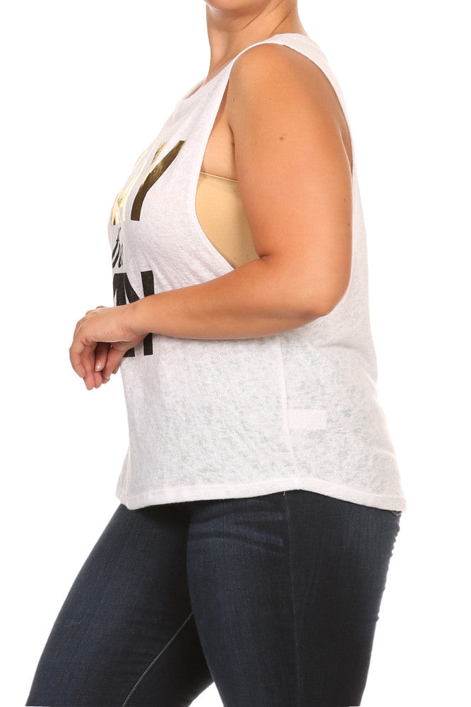 Slay The Day Graphic Print Plus Size Top