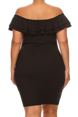 Bombshell Ruffled Off Shoulder Plus Size Dress