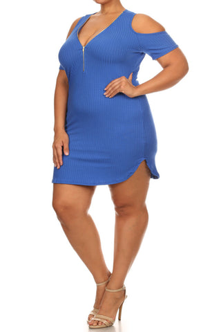 Alluring Zipper Front Ribbed Plus Size Bodycon