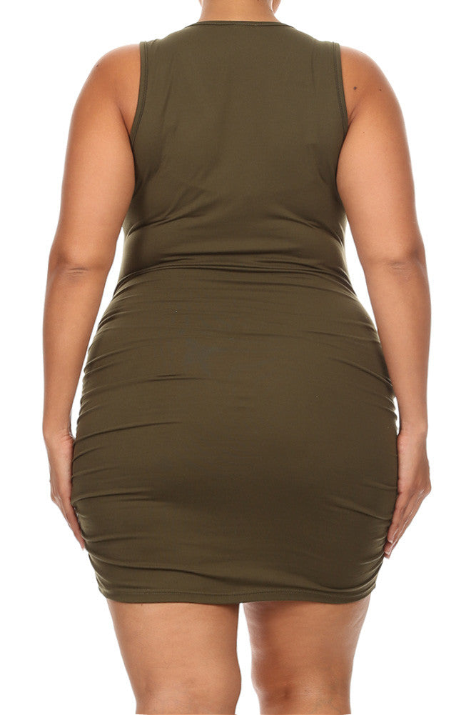 Chic Ruched Zipper Front Plus Size Bodycon Dress
