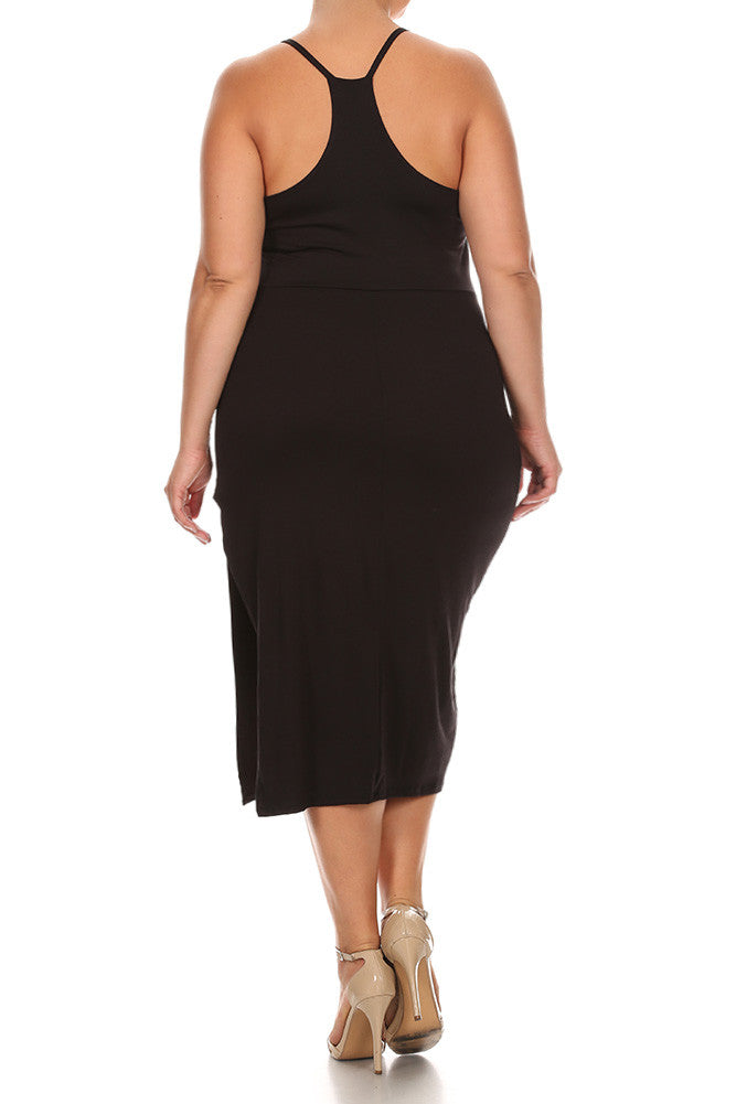 Electric Cut Out Neckline Midi Plus Size Dress