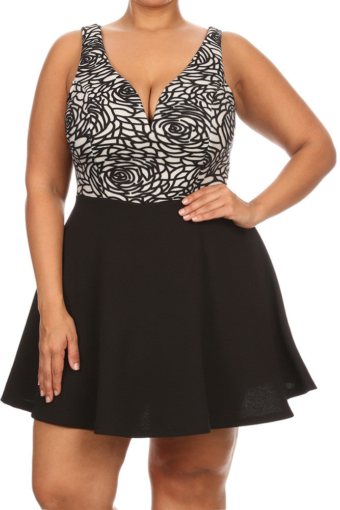 Stylish Rose V Neck Skater Plus Size Dress