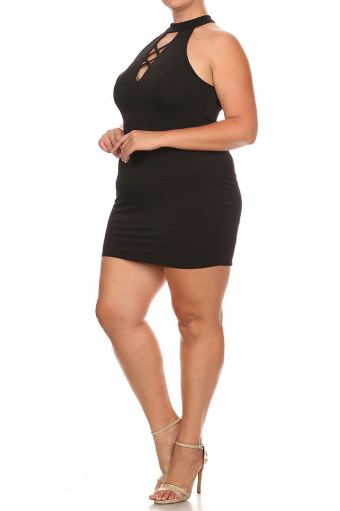 Big City Lace Up Neck Plus Size Bodycon