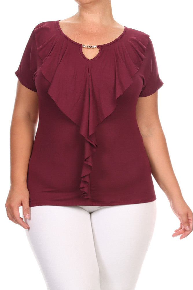 Playful Ruffled Elegant Plus Size Top
