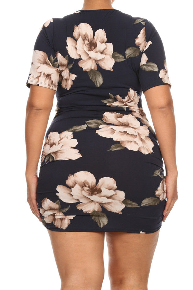 Zip Up Sexy Floral Plus Size Mini Dress