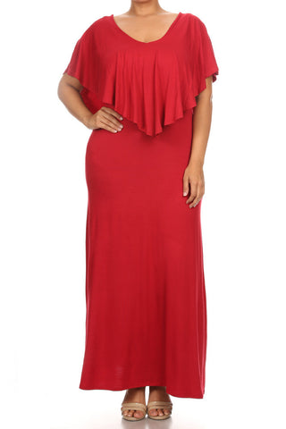 Bay Romance Ruffled Neckline Plus Size Maxi Dress