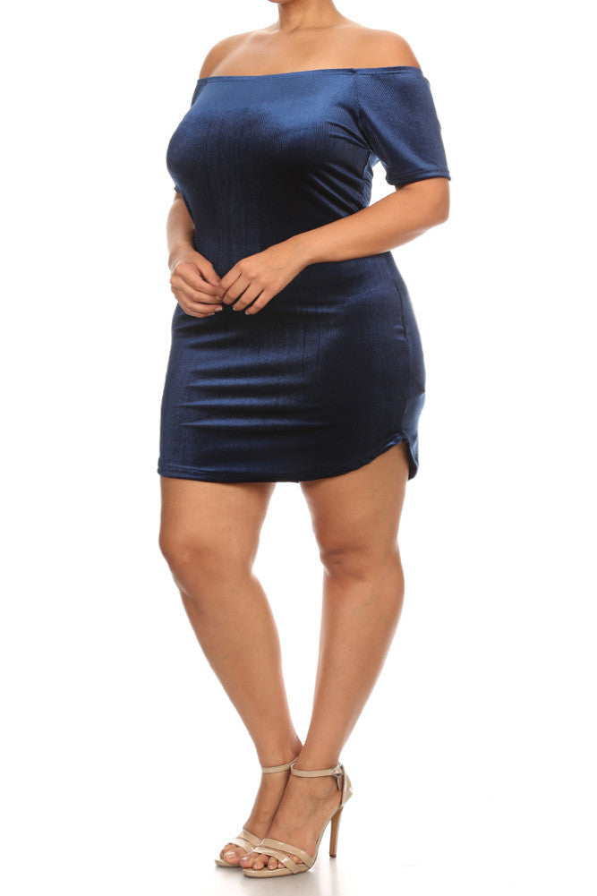 Velvet Bodycon Off Shoulder Plus Size Dress