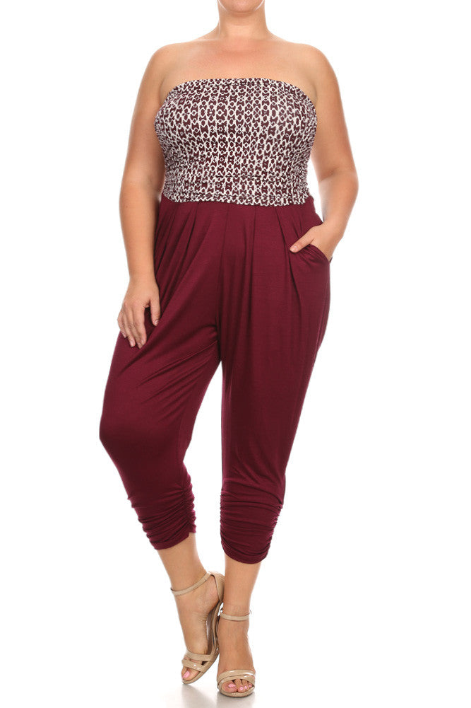 Chic Abstract Print Bubble Plus Size Jumpsuit