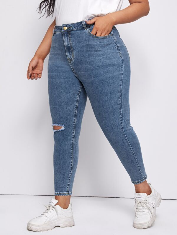 Plus Slant Pocket Ripped Skinny Jeans