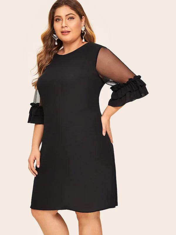 Plus Size Ruffle Trim Mesh Sleeve Dress
