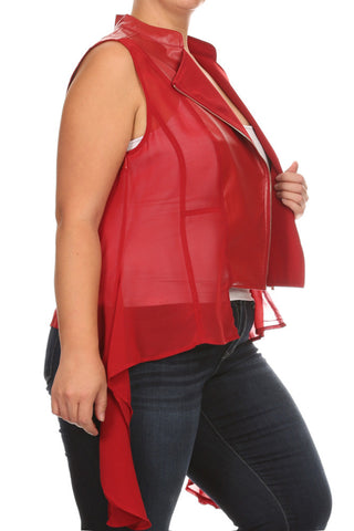 Chic Leather Draped Sheer Plus Size Vest