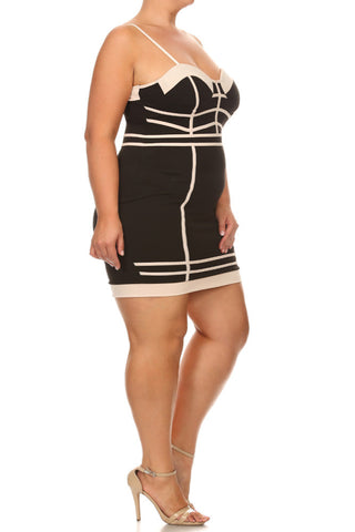 Alluring Bandage Mocha Trim Plus Size Dress