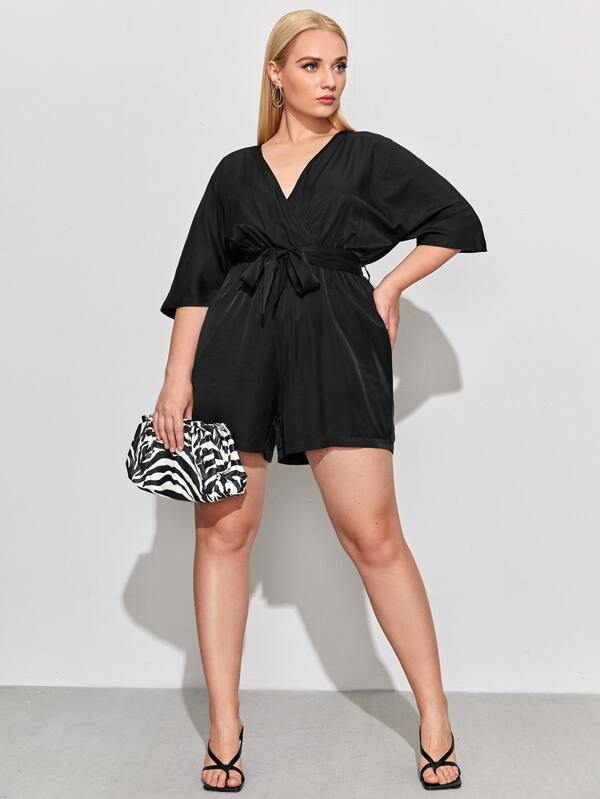 Plus Surplice Neck Self Tie Romper