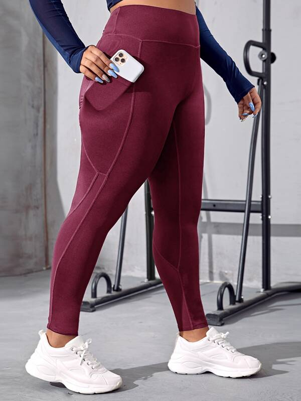 Plus Mesh Panel Sports Leggings With Phone Pocket
