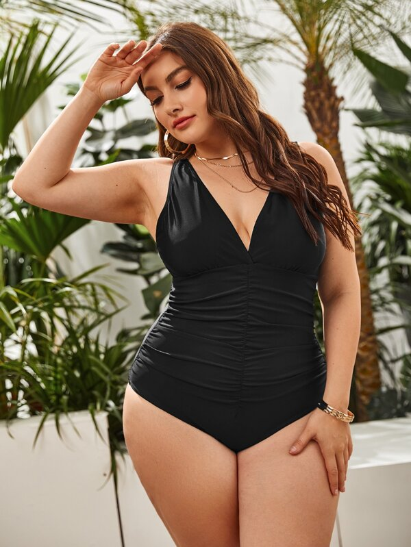Plus Ruched One Piece Swimsuit