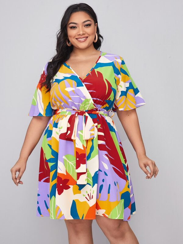 Plus Surplice Neck Self Belted Floral Dress