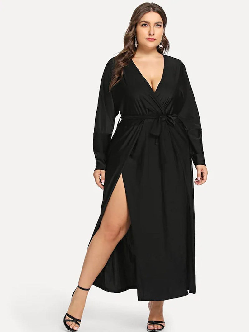 Plus Size Designer Split Solid Dress