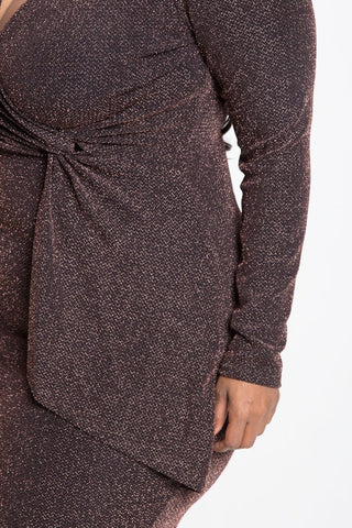 Plus Size Metallic Knit Crossover Bodycon Dress