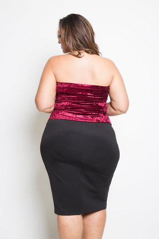 Plus Size Velvet Tube Top