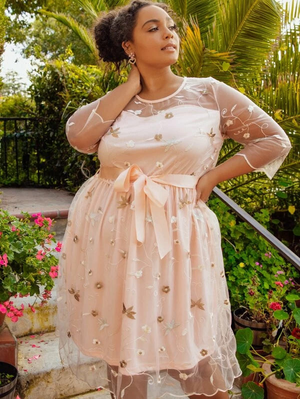 Plus Size Embroidered Mesh Overlay Belted Midi Dress
