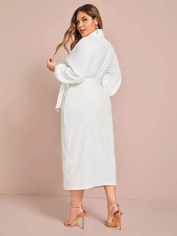 Plus Size Shawl Collar Lantern Sleeve Wrap Knot Dress