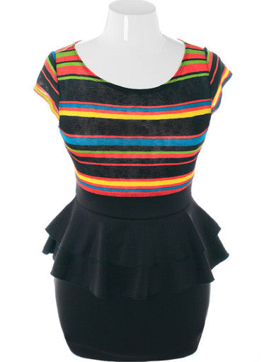 Plus Size Candy Color Stripe Peplum Dress