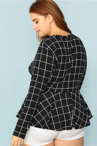 Plus Size Mod Grid Pattern Long Sleeve Peplum Top
