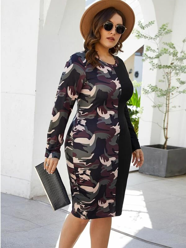 Plus Size Two Tone Camo Print Bodycon Dress