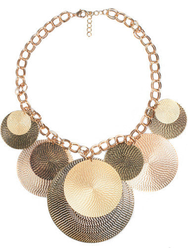 Beautiful diva gold chain disk necklace