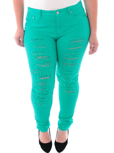 Plus Size Designer Slashed Teal Skinny Jeans
