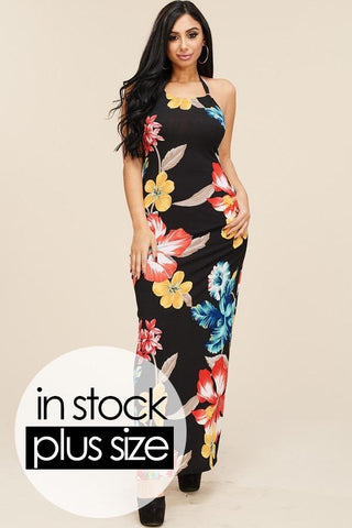 Plus Size Tropical Halter Maxi Dress